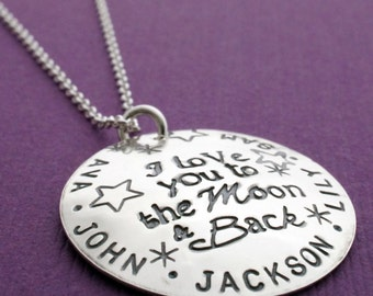 Personalized I Love You to the Moon & Back Necklace - Personalized Name Jewelry in Sterling Silver by Eclectic Wendy Designs