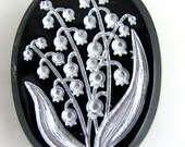 Lily of the Valley Intaglio Black Glass Cabochon 40x30 mm