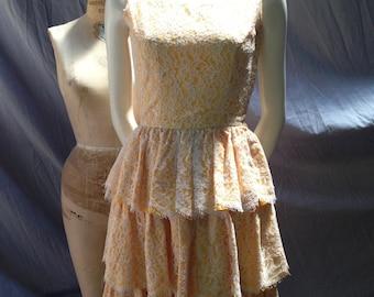 Vintage 1950's lace tiered dress. Gold taffeta.
