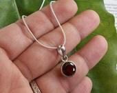 Garnet pendant chain - Bezel set pendant - Red pendant - January birthstone - Rose cut pendant - Gift for her