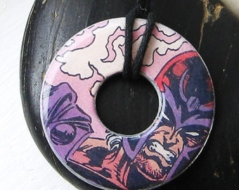 X-MEN MAGNETO Vintage Comic Book Upcycled Washer Pendant Necklace Marvel Comic Books Design 2