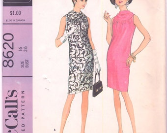 McCalls 8620 1960s Misses Cowl Neck Sheath Dress Pattern Donald Brooks Womens Vintage Sewing Pattern Size 16 Bust  36 OR Size 10 Bust 31