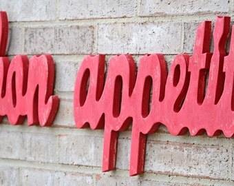 Red Bon Appetit French Kitchen Decor Sign