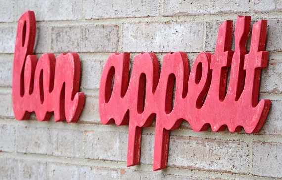 Red Bon Appetit French Kitchen Decor Sign By LifeUnscripted