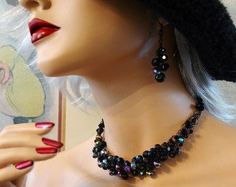 The Black Widow - One of a kind vintage Czech and AB bead necklace and earrings - crocheted wire