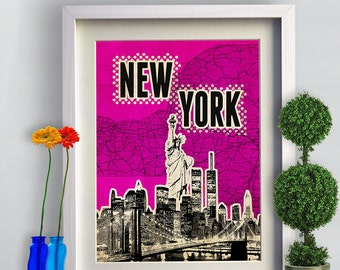 Print New York Poster print Cityscape  Birthday Gift art work canvas Handmade Wall Decor typography print