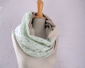 lace infinity scarf loop in mint beige jersey 95%cotton,  5 percent elasthan