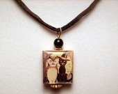 Black Cat and Owl Necklace / Halloween Jewelry / Scrabble Pendant / UPCYCLED Art Charm