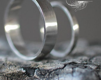 Hand Forged Recycled Palladium Wedding Ring Set with Matte Finish Eco Friendly Metal