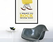 Eames poster print Mid Century Modern chair chair vintage rocker retro home kitchen art - I Want To Rock With You 2 Yellow - 50 x 70 cm