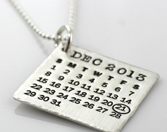 Personalized Mark Your Calendar Necklace - personalized sterling silver calendar necklace with hammered edge