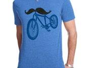 Men's Bicycle T Shirt, Bike TShirt, Mustache Tshirt, Mustache, American apparel, Available S M L XL XXL
