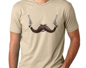 Mustache Guns Mens Shirt Funny Moustache Tee Cool TShirt American Apparel Available S M L XL XXL