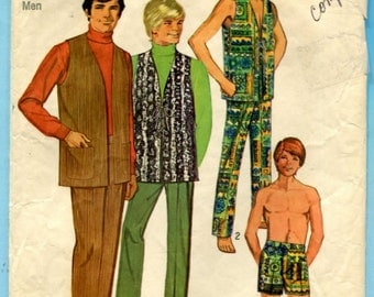 Simplicity 8949 Pants Shorts Lace Up Vests Vintage 1970s Sewing Pattern Mens Size 38 Waist 32