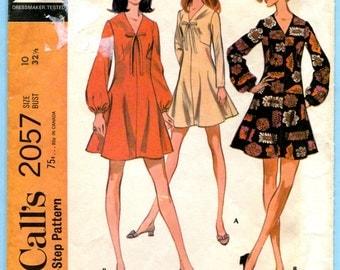 McCalls 2057 Mini Dress Vintage Sewing Pattern Misses Size 10 Bust 32