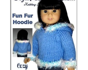 Hoodie Knitting Pattern fits American Girl Doll , 18 inch dolls. Instant Download 047
