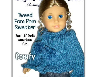 Fits 18 inch and American Girl Dolls. Sweater knitting pattern. Instant Download 050