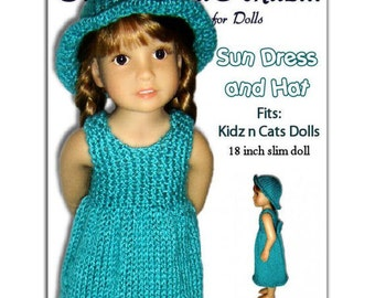 Knitting Pattern fits Kidz n Cats Dolls. Sun Dress and Hat. Instant Download 452