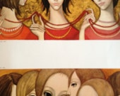 The Longest Strand - Big Eye Girl  -  Margaret Keane 1960s Reproduction Lithograph Print - 9-1/2 x 12-1/2 Two Small Prints on One Page