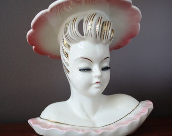 Lady Head Vase Vintage Glamour Girl Pink Ruffle with Hat