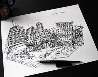 Custom drawing: original ink sketch of your favorite city skyline, hometown, or travel destination