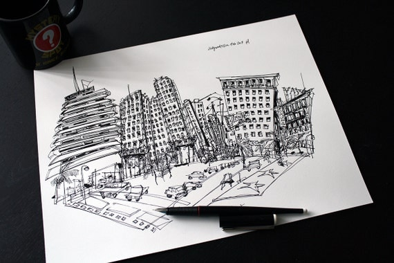Items Similar To Custom Drawing Original Ink Sketch Of Your Favorite City Skyline Hometown Or Travel Destination On Etsy