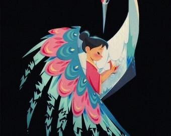 Crane Embellished Print