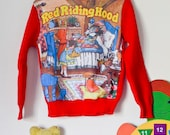 Boys/ girls vintage red riding hood jumper 70's 3-4 years