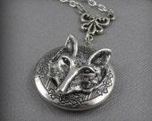 Silver Wolf Fox Locket, Steampunk Antique Silver Locket, Fantasy Harry Potter Locket- SINNA