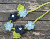 crochet flower necklace for little girls in blue and green with buttons by yourmomdesigns (rts)
