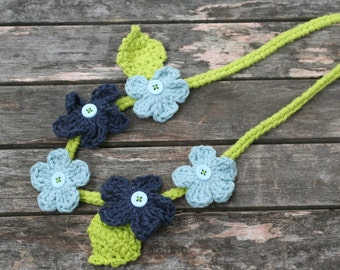 crochet flower necklace for little girls in blue and green with buttons by yourmomdesigns