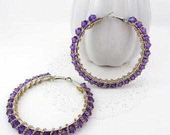 Purple Chain Wire Wrapped Crystal Hoop Earrings