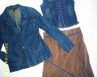 Cute Vintage Jean Corset Top Skirt and Jacket