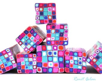 Royal blue pink orange red light blue and white polymer clay Retro Dots Square cane , raw and unbaked Fimo millefiori cane by Ronit Golan