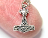 Tiny Mjolnir Rams Head Ladies Thors Hammer Necklace in Solid Sterling Silver 244