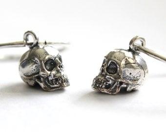 Little Silver Skull Hoop Earrings 232