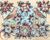 Birds and Cupcakes FLASH FOR TATTOOING A3 Print