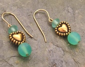 Gold Heart with Frosted Aqua Glass Beads 14Kt Gold-Filled French Hook Earrings - E219