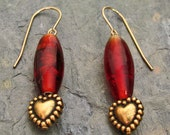 Gold Heart with Red Glass Beads 14Kt Gold-Filled French Hook Earrings - E217