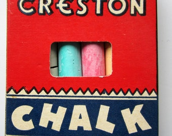 Chalk 6 Sticks Colored Vintage Original Box Rare Creston Crayon