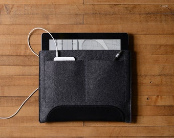 iPad Air Carryall - Charcoal Felt and Black Leather Patch, Pocket
