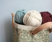 Damask knitting tote. large knitting bag (LAST ONE)
