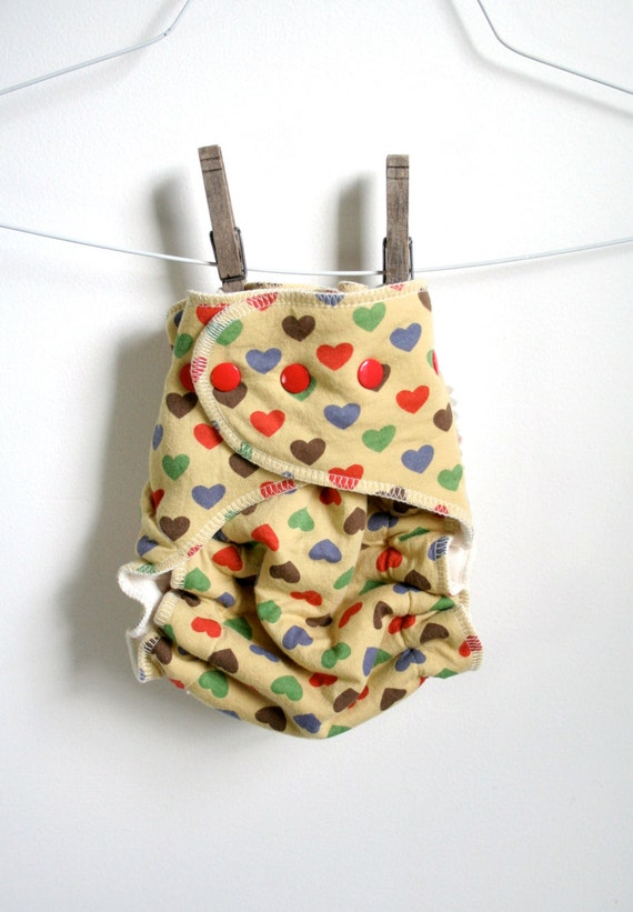 One Size Organic Fitted Diaper in Rainbow Hearts, cloth nappy, reusable diaper, organic hemp, organic bamboo