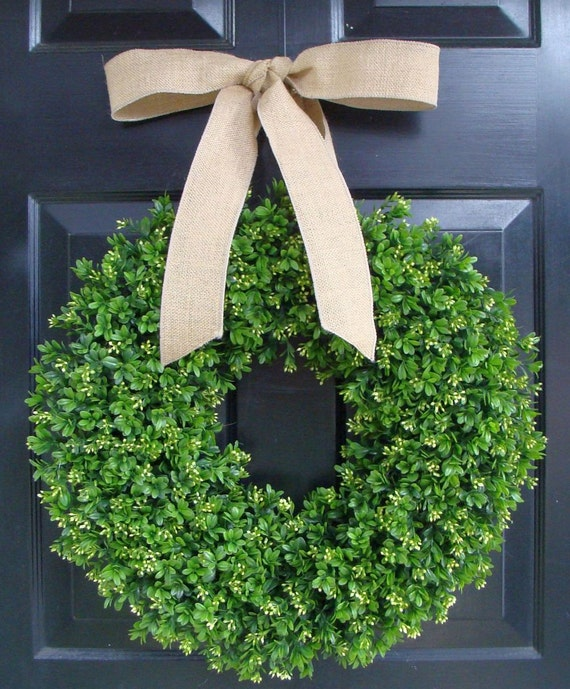 Faux Boxwood Wreath- Artificial Boxwood Wreaths for Door- Year Round Wreath Burlap Bow- Wedding Decor Boxwood Door