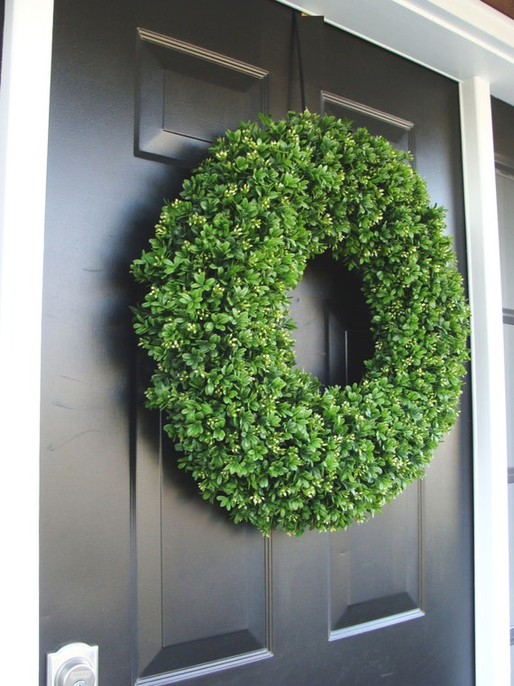 Spring Wreath, Artificial Boxwood Wreath, Wedding Wreath, Wedding Accessories, Summer Wreath, Door Wreath, Greenery