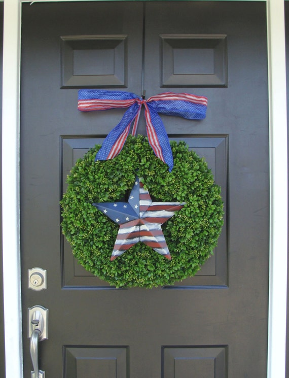 Patriotic Wreath- July 4th Wreath- Fourth of July Decor- Patriotic Star- Memorial Day Wreath- July 4th Wreath