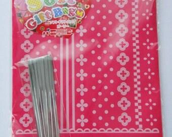 "Cute Flowers, Polka Dots, Stripes, Squares Design ""Un Cadeau Juste Pour Toi"" Pink Japanese Plastic Gift Bags / Party Bags"