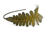 Fern Leaf Headband- Golden Olive Green with Sage Embroidery