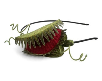 Venus Flytrap Headband or Clip-  An Embroidered Silk Fascinator