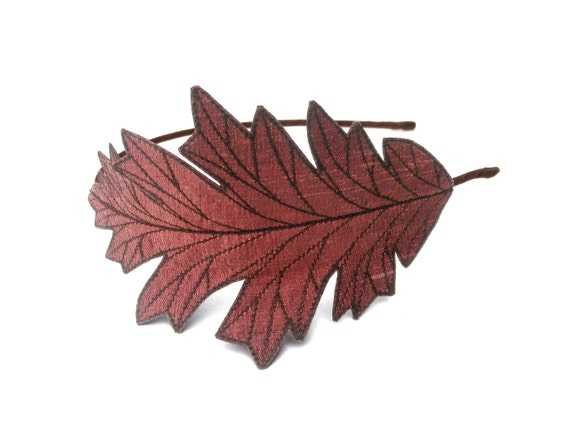 Oak leaf headband shimmery copper with dark brown embroidery